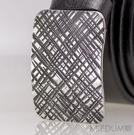 Kovaná nerez spona - Mistr 3X - Mřížka na hnědém pásku