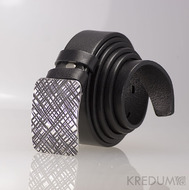 Kovaná nerez spona - Mistr 3X - Mřížka a černý pásek