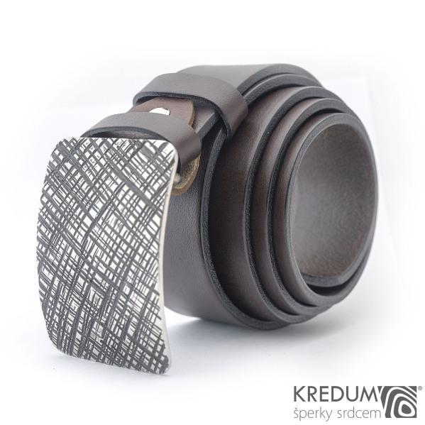 Kovaná nerez spona Mistr 4X - Mřížka a tmavě hnědý kožený pásek pásek