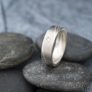 Mokume gane a diamant 2 mm - Stříbro + palladium - velikost 52, šířka 5,4 mm, tloušťka 1,4 mm, profil C - Zásnubní prsten, SK1789 (3)