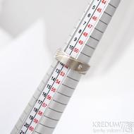 Mokume gane a diamant 2 mm - Stříbro + palladium - velikost 52, šířka 5,4 mm, tloušťka 1,4 mm, profil C - Zásnubní prsten, SK1789 (13)