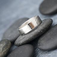 Mokume gane a diamant 2 mm - Stříbro + palladium - velikost 52, šířka 5,4 mm, tloušťka 1,4 mm, profil C - Zásnubní prsten, SK1789 (6)