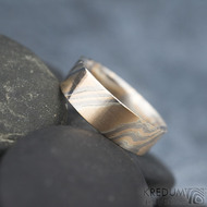 Mokume gane - červené zlato + stříbro + palladium - velikost 62CF, šířka 7, tloušťka 1,8 mm, profil F - sk1788 (7)