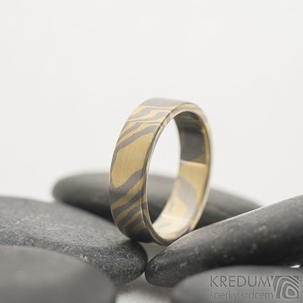 Mokume Gane žluté zlato a Palladium - velikost 53, šířka 5 mm, tloušťka 1,5 mm, profil C, matný - sk2515 (7)