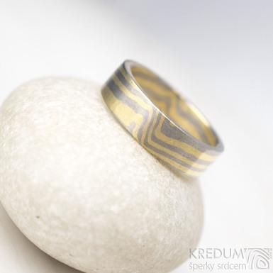 Mokume Gane - žluté zlato + palladium - velikost 52, šířka 5,2 mm, tloušťka 1,5 mm, profil C - sk1793 (2)