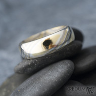Mokume Gane - žluté zlato + stříbro + palladium - velikost 66, šířka 7,4 mm, tloušťka 2,3 mm, profil B - sk1794 (8)