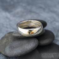 Mokume Gane - žluté zlato + stříbro + palladium - velikost 66, šířka 7,4 mm, tloušťka 2,3 mm, profil B - sk1794 (7)