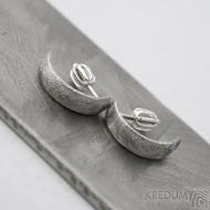 Kované damasteel naušnice - Moon, kolečka světlá - SK1661 - stříbrné zapínání