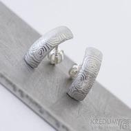 Moon kolečka, lept světlý - damasteelové náušnice - produkt SK2377 - rozměry 14,5 x 5 mm