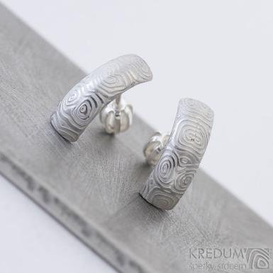 Moon kolečka světlé - Kované damasteel naušnice, produkt SK2377