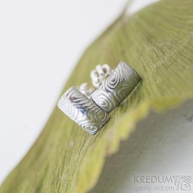 Moon kolečka světlé - Kované damasteel naušnice, produkt SK2382