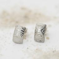 Moon kolečka světlé - Kované damasteel naušnice, produkt SK3141