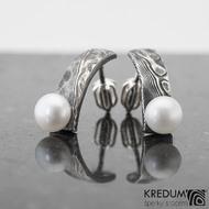 Moon Natura s perlou - kované damasteel náušnice, SK1117