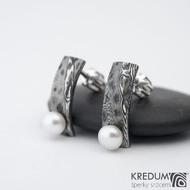 Moon Natura s perlou - kované damasteel náušnice, SK1484 (2)