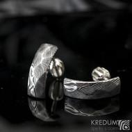 Moon Rocksteel dřevo, tmavé - Kované damasteel náušnice, SK1259