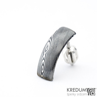 Moonman 1ks - dřevo - Kovaná damasteel naušnice, SK1336