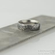 Natura - 54, šířka 6 mm, struktura voda extra TM - Kované damasteel snubní prsteny - k 2129 (5)