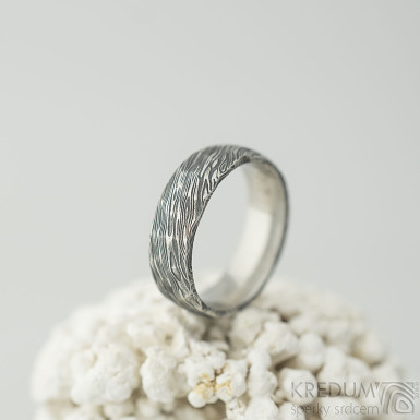 Natura - voda - Snubní prsten z oceli damasteel