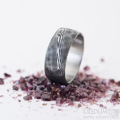 Natura - 60, šířka 8,5 mm, tloušťka střední, struktura dřevo - Snubní prsten nerezová ocel damasteel, SK2465 (4)