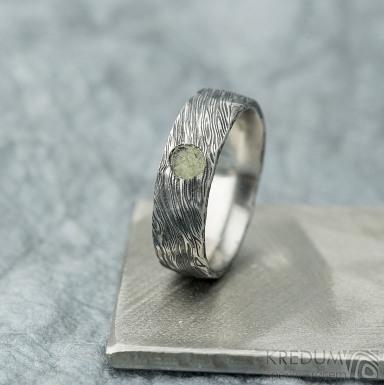 Natura a vltavín - 54, šířka 6 mm, struktura voda extra TM - Kované damasteel snubní prsteny - k 2129 (5)