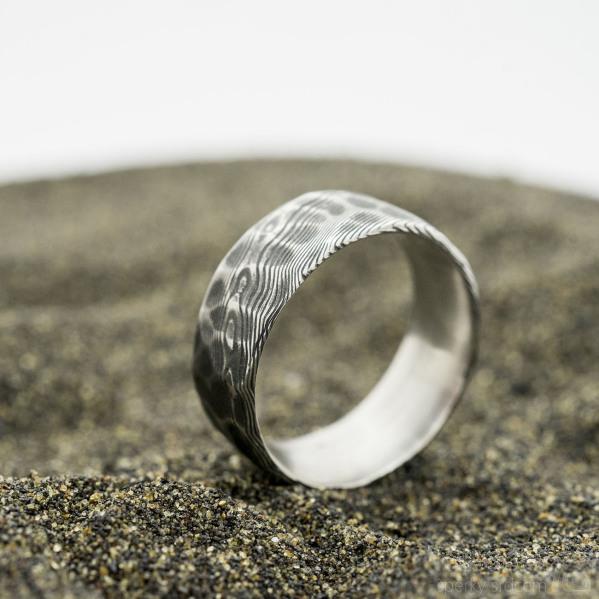 Natura, dřevo - 62, šířka 8,5 mm, povrch zatmavený, s vnitřním zaoblením - Damasteel snubní prsten - sk2979 (4)