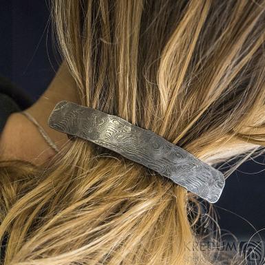 Natura Holde tmavá - Kovaná damasteel spona do vlasů - k 1236 (5)