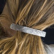 Natura Holde tmavá, základ 8 cm - Kovaná damasteel spona do vlasů, SK1627
