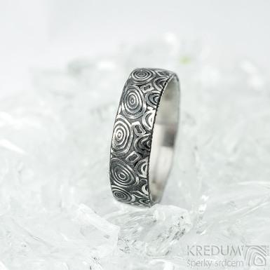 Natura - kolečka - Snubní prsten z oceli damasteel