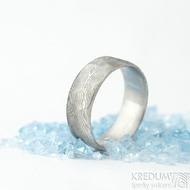 Natura white - velikost 67 CF, šířka 8 mm, tloušťka 1,8 mm, dřevo světlé - Damasteel snubní prsteny - sk1977 (4)