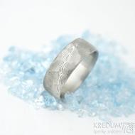 Natura white - velikost 67 CF, šířka 8 mm, tloušťka 1,8 mm, dřevo světlé - Damasteel snubní prsteny - sk1977 (3)