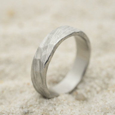Natura white, voda - Snubní prsten nerezová ocel damasteel, produkt SK3246