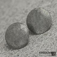 Puklík - Kované damasteel náušnice zatmavené