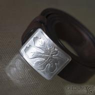 Nerezová spona na opasek s fíkovým listem a kožený pásek, SK2503 (4)