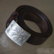 Nerezová spona na opasek s fíkovým listem a kožený pásek, SK2503 (5)