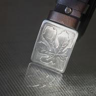 Nerezová spona na opasek s fíkovým listem a kožený pásek, SK2503 (6)