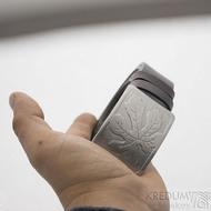 Nerezová spona na opasek s fíkovým listem a kožený pásek, SK2503 (8)