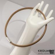 Kožený náhrdelník - Samuel hnědý - hrubý mat