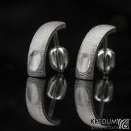 Kované nerezové naušnice - Moon Klasik s ozdobou