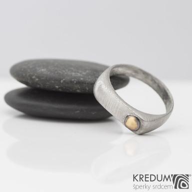 Omar s ozdobou - Kovaný damasteel prsten, S2207