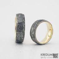 Orion Natura yellow - kombinace damasteel oceli a žlutého zlata -vel 56 a 68, šířka oba 7 mm,  dřevo 100% zatmavené, profil F - k 1058 (5)