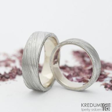 Orion white - voda - Zlatý snubní prsten a damasteel
