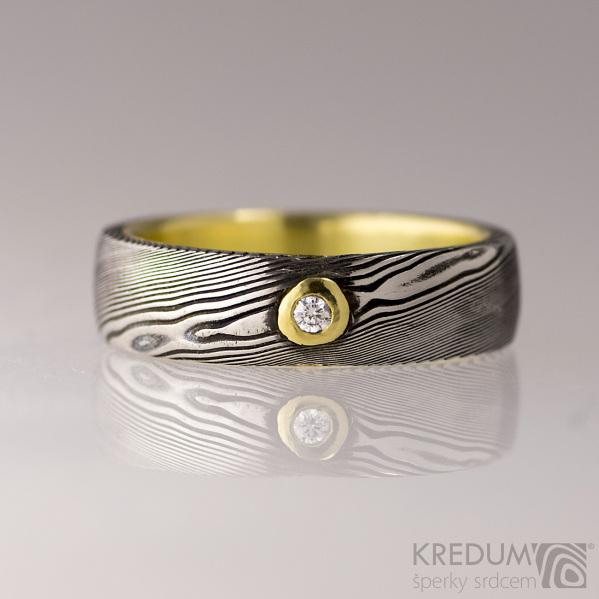 Orion yellow a čirý diamant 1,7 mm - Zlatý snubní prsten a damasteel, S1710