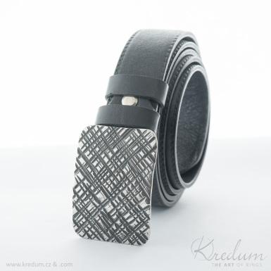 Kovaná nerez spona - Mistr 3X - Mřížka + kožený pásek 3X s prošitím - SK4140