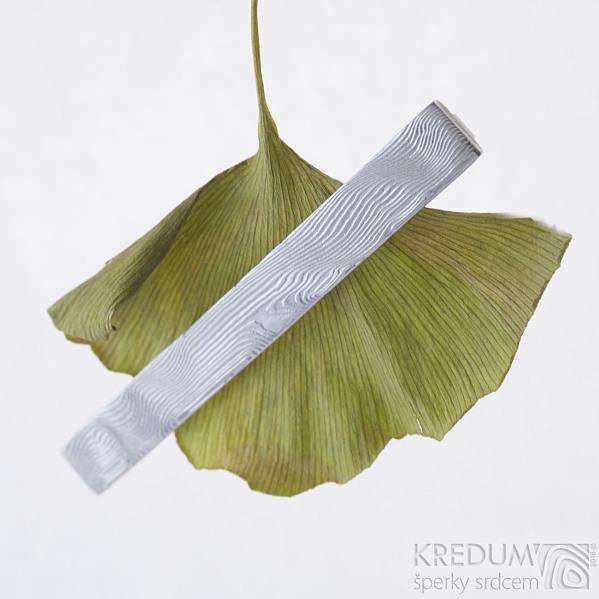 Pan Q - Kovaná spona na kravatu damasteel, dřevo, produkt SK2322