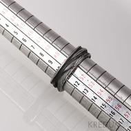 Pán vod - Damasteel snubní prsteny - vel 51, šířka 5 -7 mm, tloušťka 1,7 - 2 mm, struktura dřevo, lept 100% zamavený - S1154 (2)