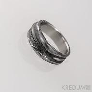 Pán vod - Damasteel snubní prsteny - vel 51, šířka 5 -7 mm, tloušťka 1,7 - 2 mm, struktura dřevo, lept 100% zamavený - S1154 (3)