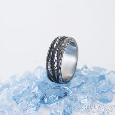 Pán vod, dřevo - 56, šířka 7,2 mm, tloušťka 2,2 mm - Snubní prsten damasteel, SK2463 (6)