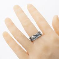 na umělé ruce - Pán vod, damasteel prsten struktura dřevo, velikost 61, šířka 8,5 mm, tloušťka až 2,5 mm - produkt SK2690