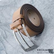 Opasek Patrem 3,5X - Kant - kožený světle hnědý pásek s prošitím a kovaná nerezová spona