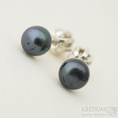 Perlové náušničky - Kiki black 5 mm